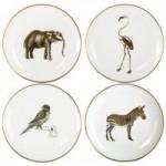 Set of 4 Animal Printed Gold Cake Plates Gold