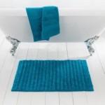 Ribbed Teal Bath Mat Teal (Blue)