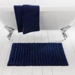 Ribbed Navy Bath Mat Navy