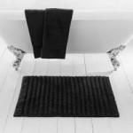 Ribbed Black Bath Mat Black