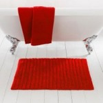 Ribbed Red Bath Mat Red